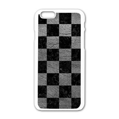 Square1 Black Marble & Gray Leather Apple Iphone 6/6s White Enamel Case by trendistuff