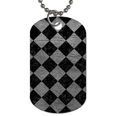 Square2 Black Marble & Gray Leather Dog Tag (two Sides) by trendistuff
