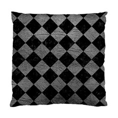 Square2 Black Marble & Gray Leather Standard Cushion Case (one Side) by trendistuff