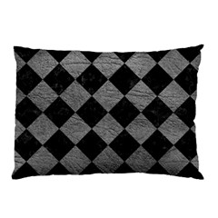 Square2 Black Marble & Gray Leather Pillow Case by trendistuff