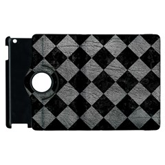 Square2 Black Marble & Gray Leather Apple Ipad 2 Flip 360 Case by trendistuff
