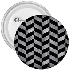 Chevron1 Black Marble & Gray Metal 2 3  Buttons by trendistuff