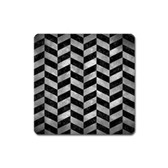 Chevron1 Black Marble & Gray Metal 2 Square Magnet by trendistuff