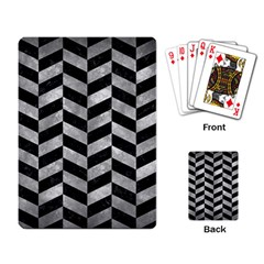 Chevron1 Black Marble & Gray Metal 2 Playing Card by trendistuff