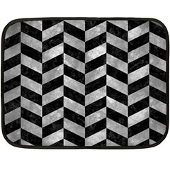 Chevron1 Black Marble & Gray Metal 2 Fleece Blanket (mini)