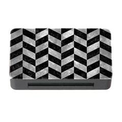 Chevron1 Black Marble & Gray Metal 2 Memory Card Reader With Cf by trendistuff
