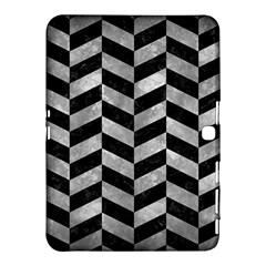 Chevron1 Black Marble & Gray Metal 2 Samsung Galaxy Tab 4 (10 1 ) Hardshell Case  by trendistuff