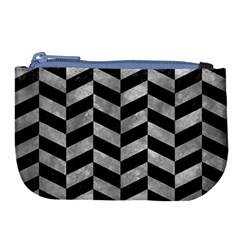 Chevron1 Black Marble & Gray Metal 2 Large Coin Purse by trendistuff