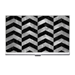 Chevron2 Black Marble & Gray Metal 2 Business Card Holders by trendistuff