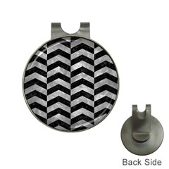 Chevron2 Black Marble & Gray Metal 2 Hat Clips With Golf Markers by trendistuff