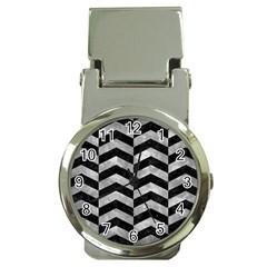 Chevron2 Black Marble & Gray Metal 2 Money Clip Watches by trendistuff