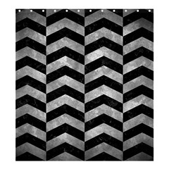 Chevron2 Black Marble & Gray Metal 2 Shower Curtain 66  X 72  (large)  by trendistuff