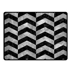 Chevron2 Black Marble & Gray Metal 2 Fleece Blanket (small) by trendistuff
