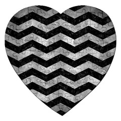 Chevron3 Black Marble & Gray Metal 2 Jigsaw Puzzle (heart) by trendistuff