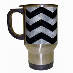 Chevron3 Black Marble & Gray Metal 2 Travel Mugs (white) by trendistuff