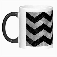 Chevron3 Black Marble & Gray Metal 2 Morph Mugs by trendistuff