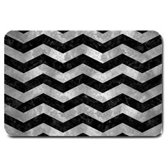 Chevron3 Black Marble & Gray Metal 2 Large Doormat  by trendistuff