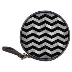 Chevron3 Black Marble & Gray Metal 2 Classic 20 Cd Wallets by trendistuff