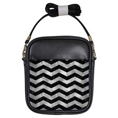 Chevron3 Black Marble & Gray Metal 2 Girls Sling Bags by trendistuff