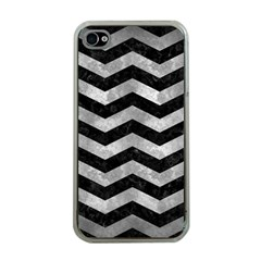 Chevron3 Black Marble & Gray Metal 2 Apple Iphone 4 Case (clear) by trendistuff