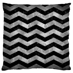 Chevron3 Black Marble & Gray Metal 2 Standard Flano Cushion Case (one Side) by trendistuff