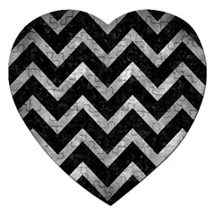 Chevron9 Black Marble & Gray Metal 2 Jigsaw Puzzle (heart) by trendistuff