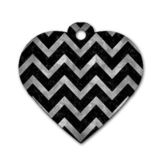Chevron9 Black Marble & Gray Metal 2 Dog Tag Heart (one Side) by trendistuff