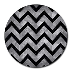 Chevron9 Black Marble & Gray Metal 2 (r) Round Mousepads by trendistuff