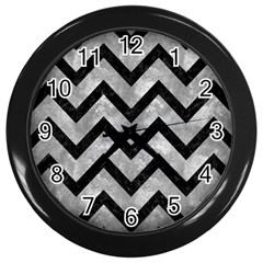 Chevron9 Black Marble & Gray Metal 2 (r) Wall Clocks (black) by trendistuff