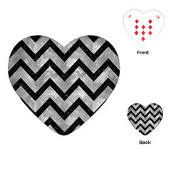 Chevron9 Black Marble & Gray Metal 2 (r) Playing Cards (heart)  by trendistuff