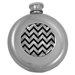 Chevron9 Black Marble & Gray Metal 2 (r) Round Hip Flask (5 Oz) by trendistuff