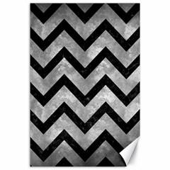 Chevron9 Black Marble & Gray Metal 2 (r) Canvas 24  X 36  by trendistuff
