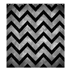 Chevron9 Black Marble & Gray Metal 2 (r) Shower Curtain 66  X 72  (large)  by trendistuff