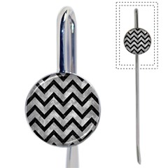 Chevron9 Black Marble & Gray Metal 2 (r) Book Mark by trendistuff