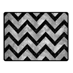 Chevron9 Black Marble & Gray Metal 2 (r) Fleece Blanket (small) by trendistuff