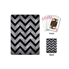 Chevron9 Black Marble & Gray Metal 2 (r) Playing Cards (mini)  by trendistuff