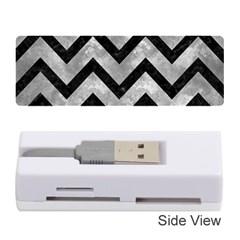 Chevron9 Black Marble & Gray Metal 2 (r) Memory Card Reader (stick)  by trendistuff