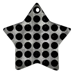 Circles1 Black Marble & Gray Metal 2 (r) Ornament (star) by trendistuff