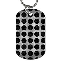 Circles1 Black Marble & Gray Metal 2 (r) Dog Tag (one Side) by trendistuff