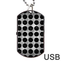 Circles1 Black Marble & Gray Metal 2 (r) Dog Tag Usb Flash (one Side) by trendistuff