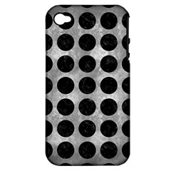 Circles1 Black Marble & Gray Metal 2 (r) Apple Iphone 4/4s Hardshell Case (pc+silicone) by trendistuff
