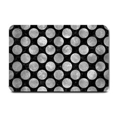 Circles2 Black Marble & Gray Metal 2 Small Doormat  by trendistuff
