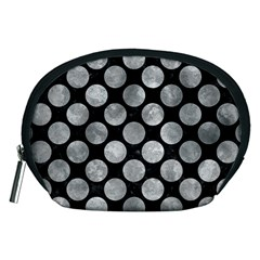 Circles2 Black Marble & Gray Metal 2 Accessory Pouches (medium)  by trendistuff