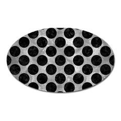 Circles2 Black Marble & Gray Metal 2 (r) Oval Magnet by trendistuff