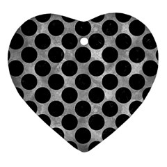 Circles2 Black Marble & Gray Metal 2 (r) Heart Ornament (two Sides) by trendistuff
