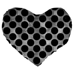 Circles2 Black Marble & Gray Metal 2 (r) Large 19  Premium Heart Shape Cushions by trendistuff