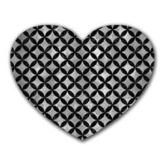 Circles3 Black Marble & Gray Metal 2 (r) Heart Mousepads by trendistuff
