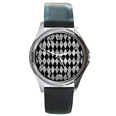 Diamond1 Black Marble & Gray Metal 2 Round Metal Watch by trendistuff