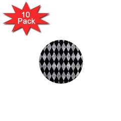 Diamond1 Black Marble & Gray Metal 2 1  Mini Magnet (10 Pack)  by trendistuff