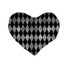 Diamond1 Black Marble & Gray Metal 2 Standard 16  Premium Flano Heart Shape Cushions by trendistuff